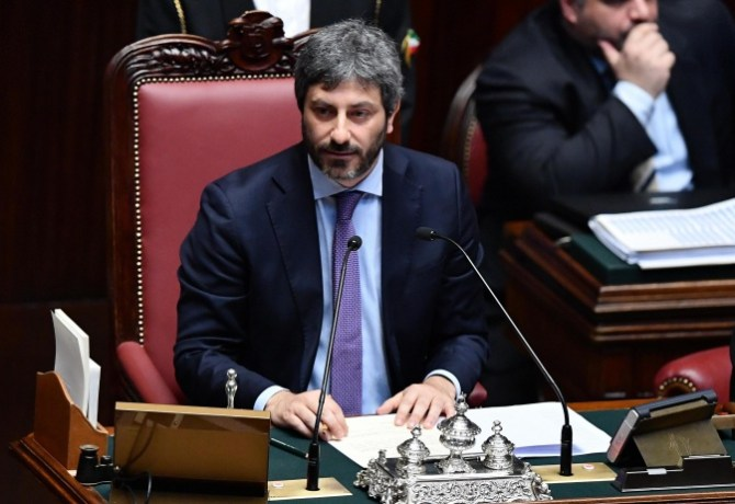 New elected Chamber of Deputies' President Roberto Fico of Five Stars Movement during his first speech at the Chamber of Deputies, Rome, 24 March 2018. ANSA/ETTORE FERRARI