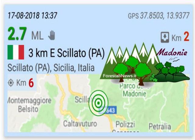 Madonie. Scossa di terremoto ieri a Scillato (PA)