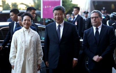 Chinese President Xi Jinping with his wife Peng Liyuan and the President of the Sicilian Regional Assembly, Gianfranco Miccichè (R), at the Reale Palace in Palermo, Sicily island, Italy, 23 March 2019. ANSA/IGOR PETYX