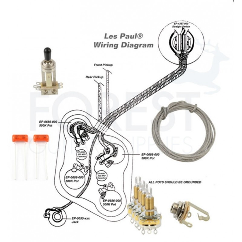 Wiring kit for Gibson® Les Paul guitars® Switchcraft, CTS, + Sprage