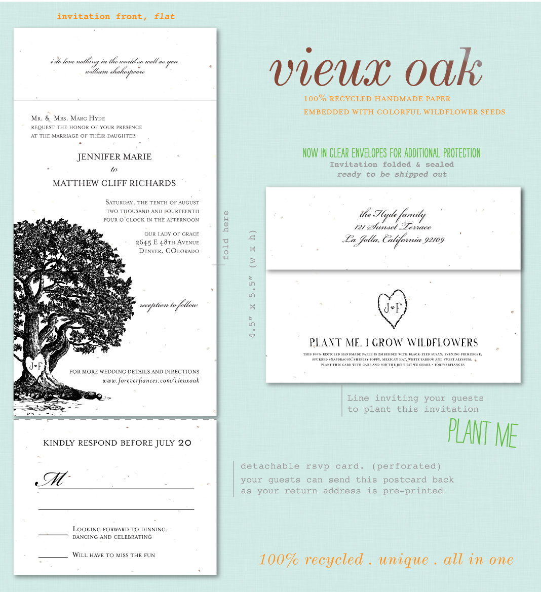 organic recycled wedding invitations plantable wedding invitations Organic Wedding Invitations Vieux Oak Plantable Paper Also