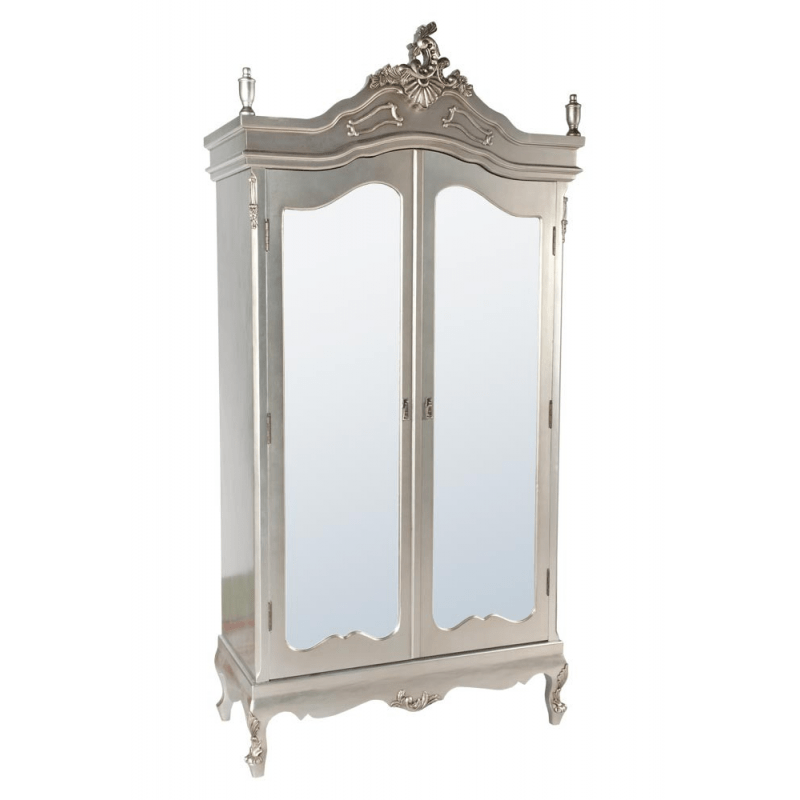 Silver Armoire Wardrobe With Full Mirror Doors Forever