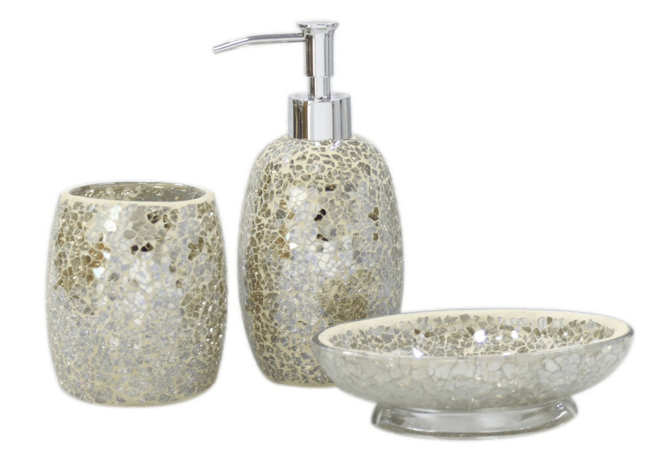 Gold crackle bathroom accessories george home cracked gold for Gold mosaic bathroom accessories