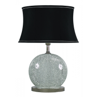 Silver Sparkle Mosaic Oval Table Lamp with Black Shade ...