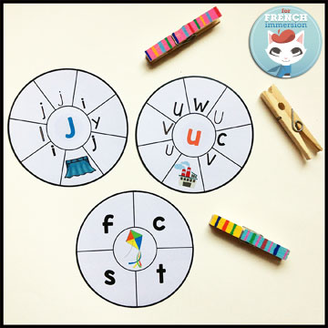 French Alphabet Centers - round clip cards: matching lowercase to uppercase letters and vice-versa, and identifying initial letters of words. Centres de littératie - l'alphabet.