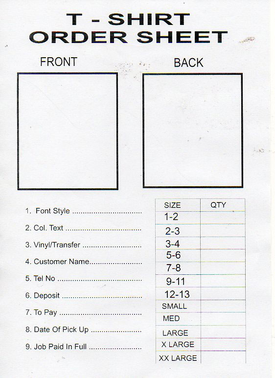 shirt order form template word - free printable order form