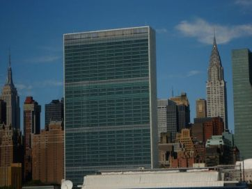 The UN with the Empire State on the left and the Chrysler on the right