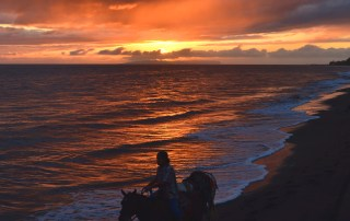 With the sun about to set behind Ni'ihau, the Forbidden Island, a paniolo, or Hawaiian cowboy, rides his horse and pulls another in Waimea, Kaua'i's Westside. Photo by Robert Kennedy