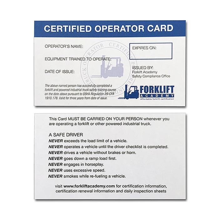 forklift training cards - forklift certification card template