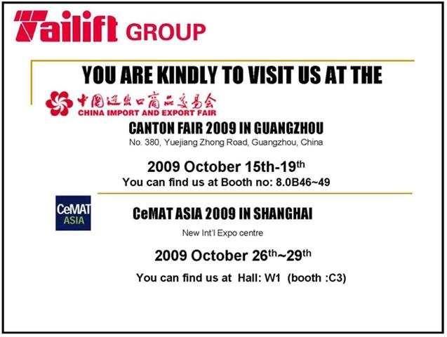 Tailift At Cemat Asia Shanghai And Canton Fair Guangzhou
