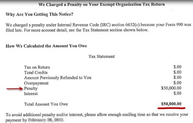 How to remove an IRS form 990 late filing penalty. Write an Effective Reasonable Cause Letter.