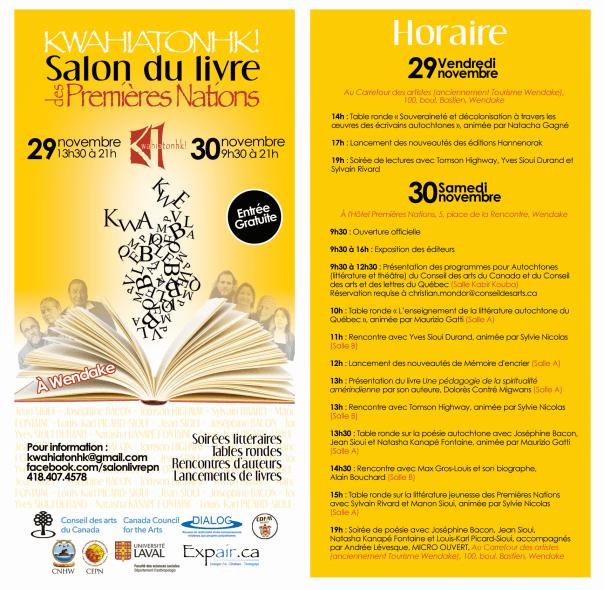 Flyer Salon du livre des Premières Nations