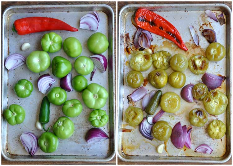 Fresh and cooked ingredients for Roasted Tomatillo Salsa