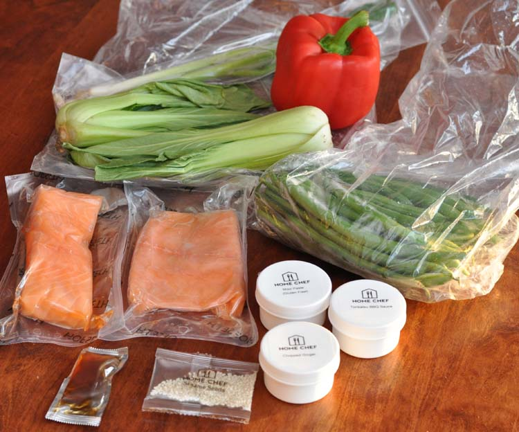 Ingredients for Home Chef Salmon Tonkatsu with miso ginger vegetables- green beans, red bell pepper