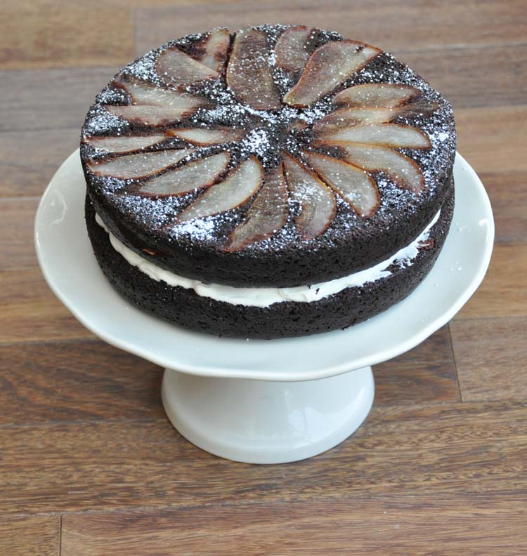 Chocolate Spice Pear Cake with Cream Cheese Filling.