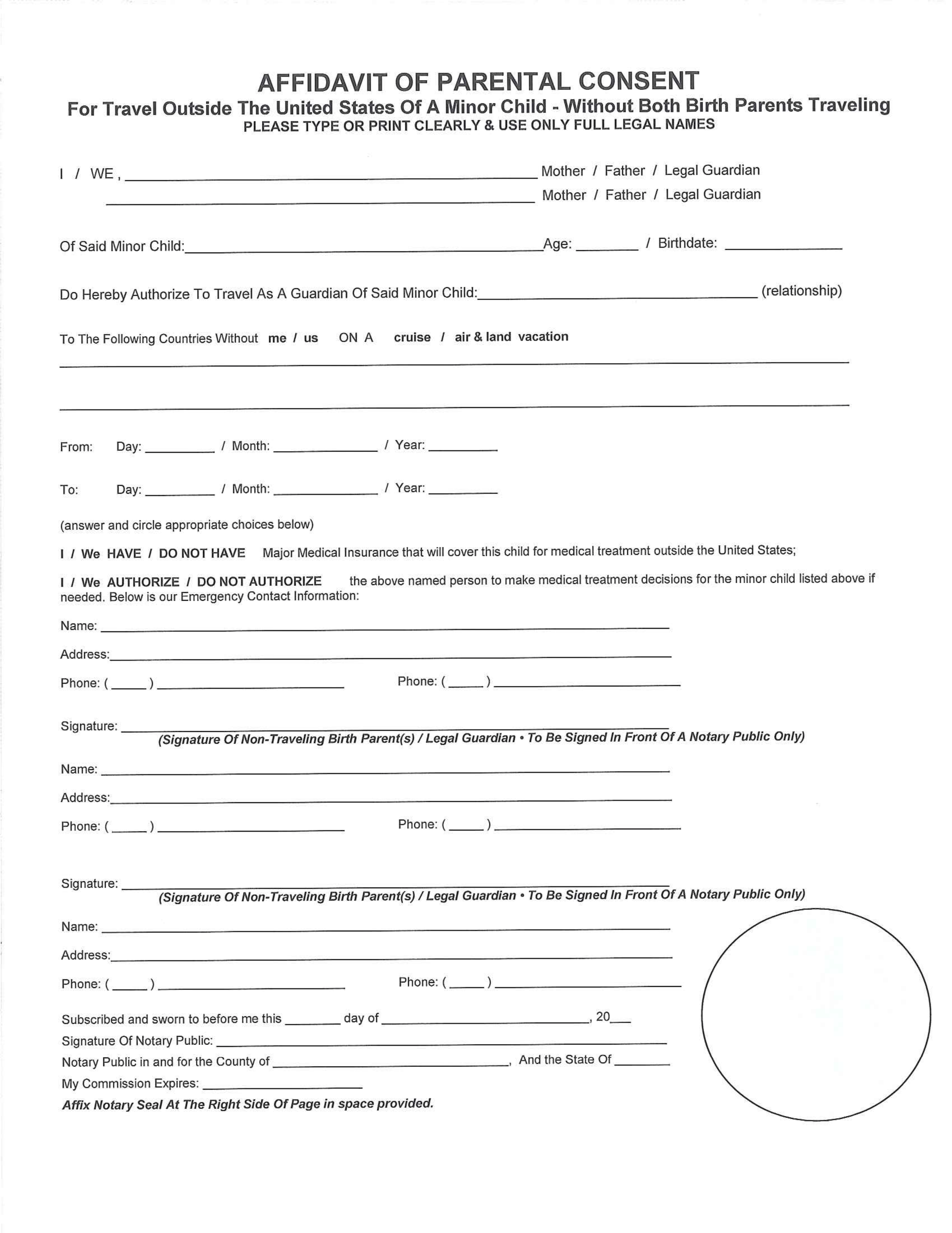 International Travel With Child Consent Form – Child Travel Consent Form
