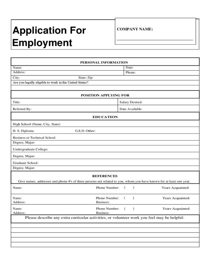 Employment Application Please Print Date Generic Application Free Download