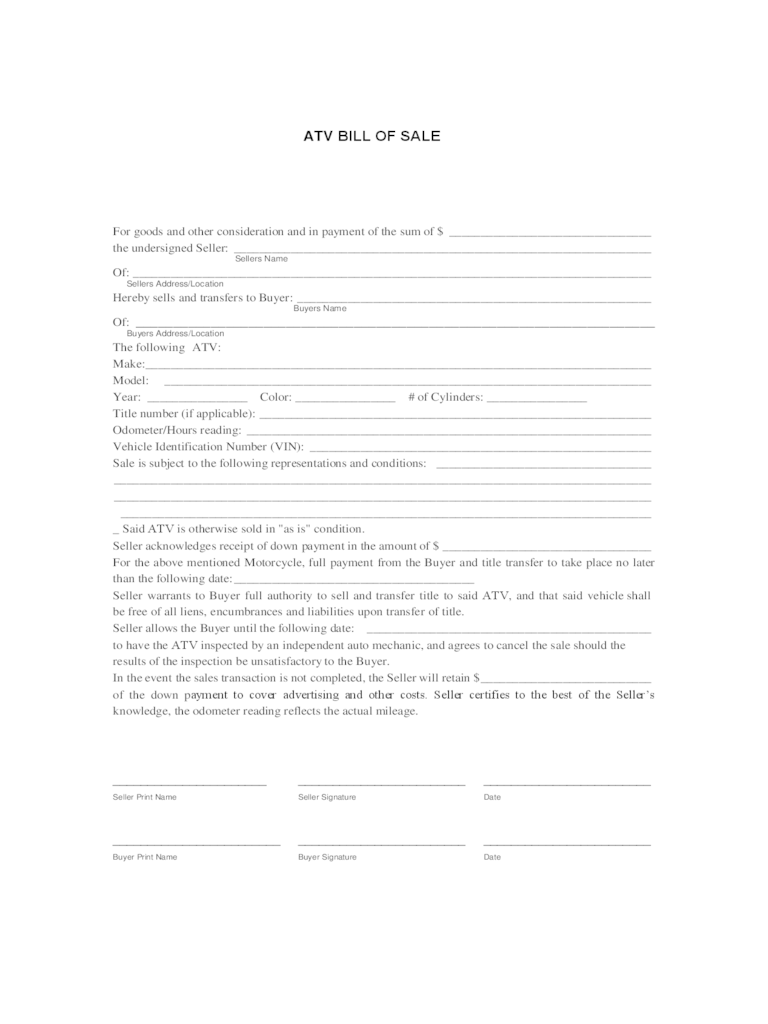 printable free bill of sale form for vehicle