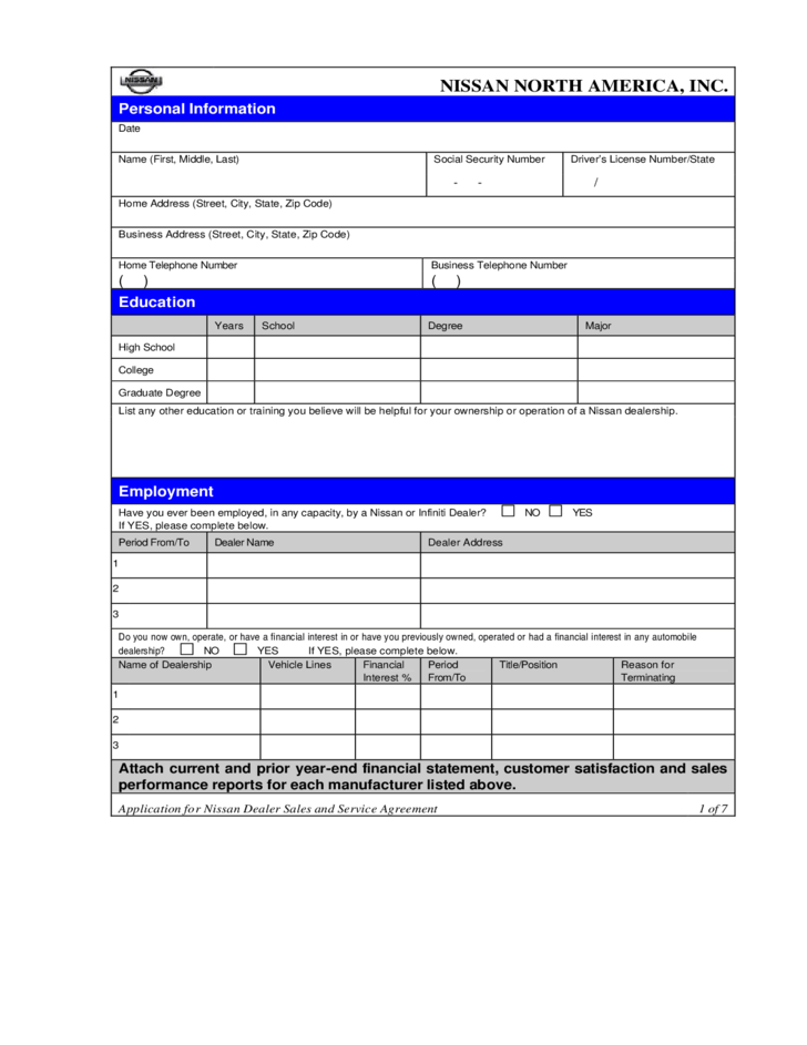 1 Page Basic Job Application Job Applications 1 Online Printable Job And Employment Nissan Job Application Form Free Download