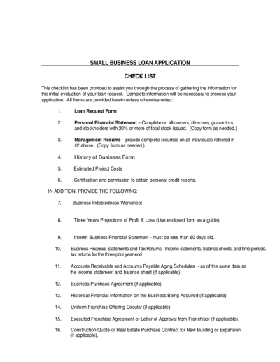 Small Business Loan Application Form Free Download