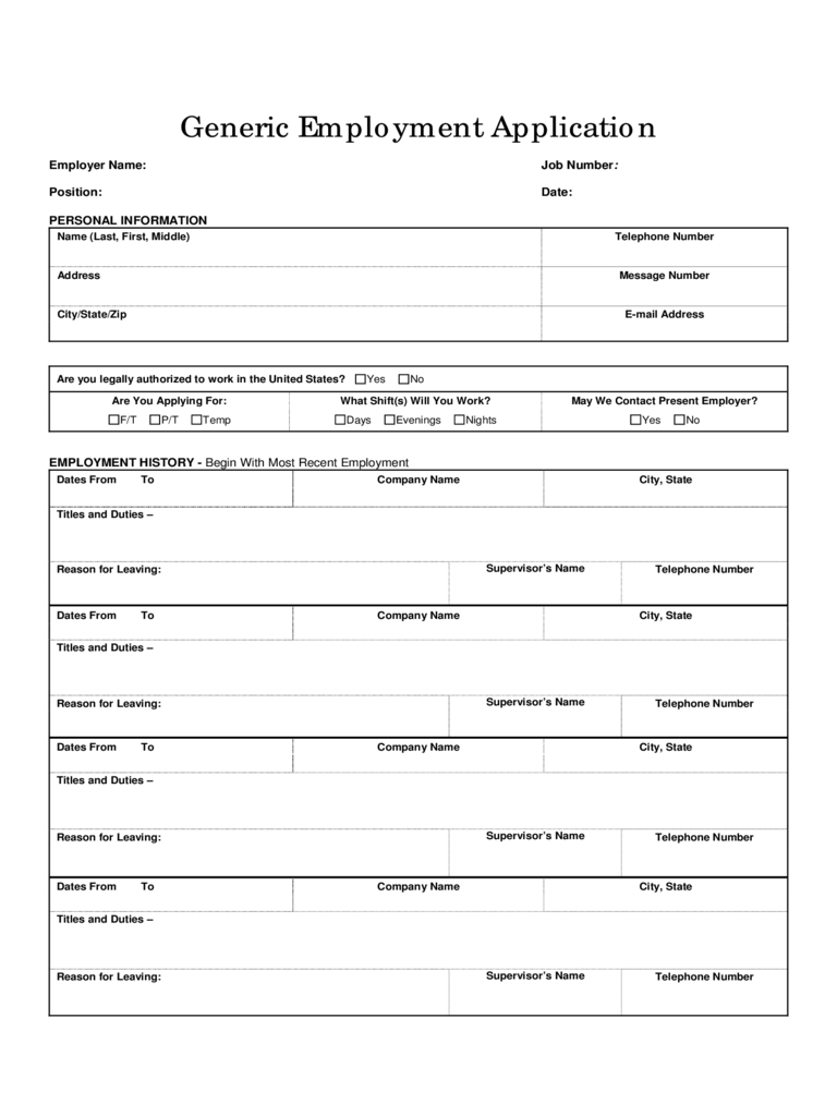 Basic Job Application Form Excel Template Basic Job Application Form 5 Free Templates In Pdf Word