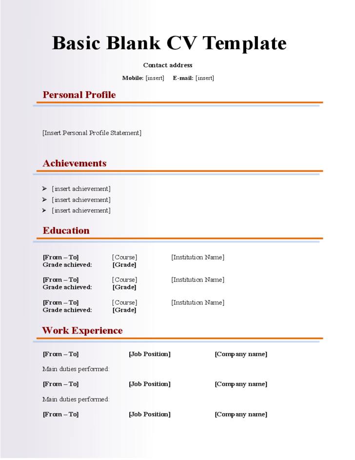 Resume Templates Basic Blank Cv Resume Template For Fresher Free Download