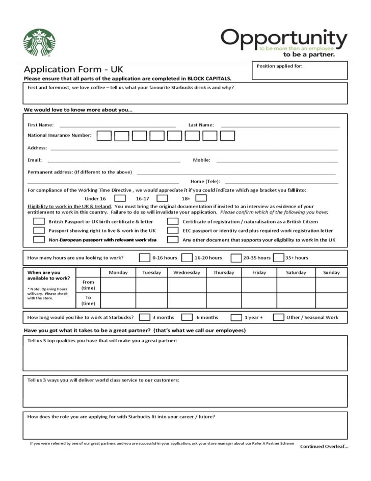 Printable Job Application Forms Online Starbucks Job Application Printable Form Pictures To Pin