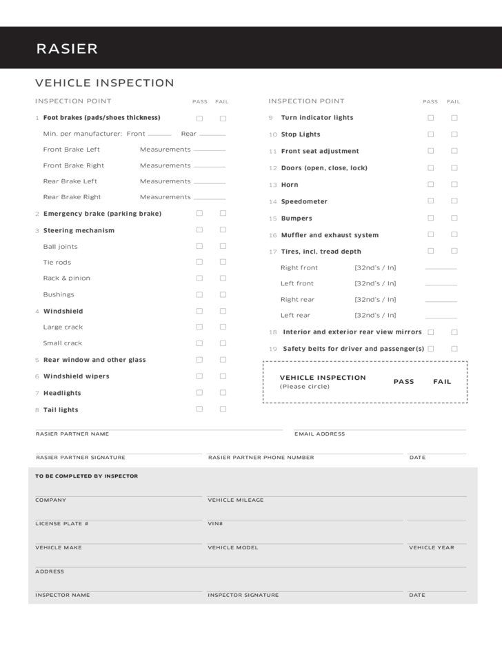 Automotive Inspection Checklist Template – Vehicle Inspection Checklist Template