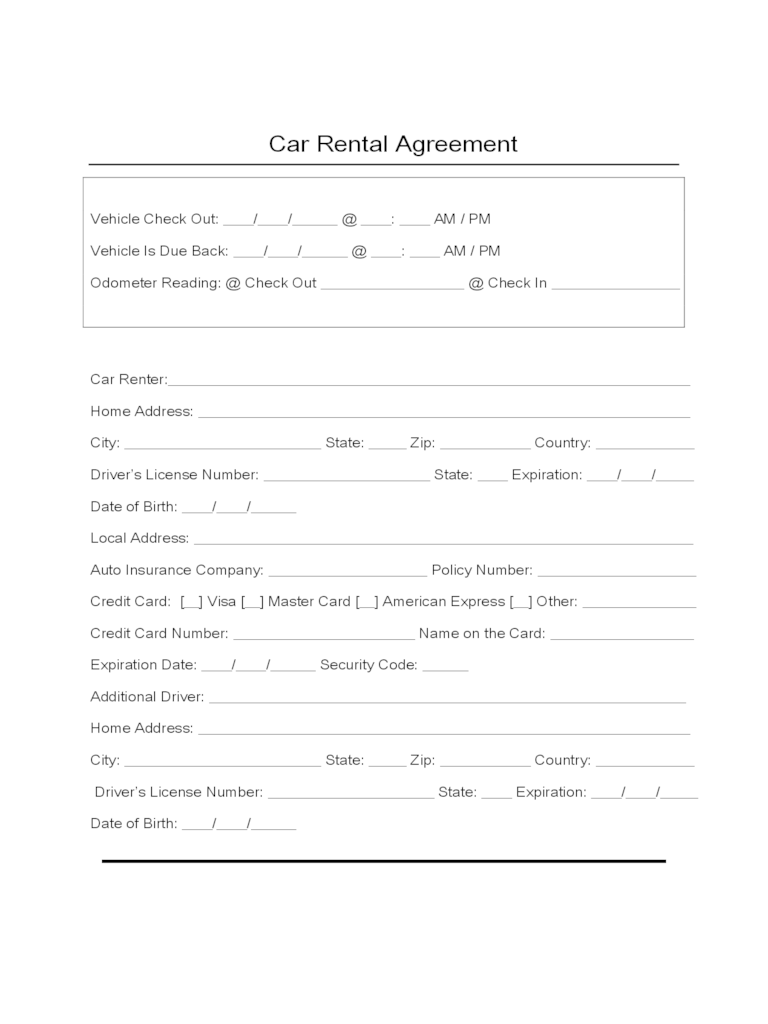 Agreement To Lease Form Ontario – Auto Rental and Lease Form
