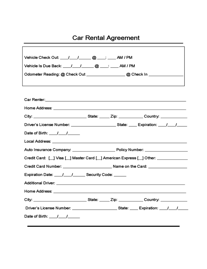 Vehicle Rental Agreement Template – Auto Rental and Lease Form