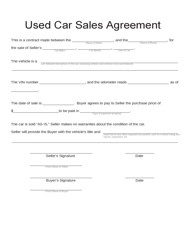 Agreement Letter For Vehicle – Vehicle Contract Agreement Format