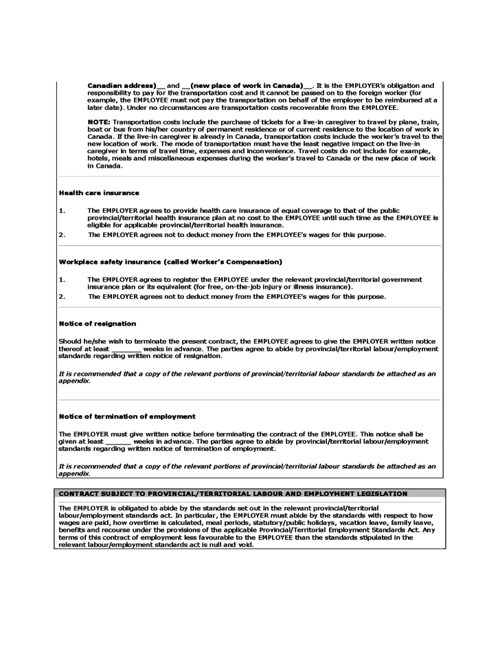 Checklist Template Free Formats Excel Word Live In Caregiver Employeremployee Contract Canada Free