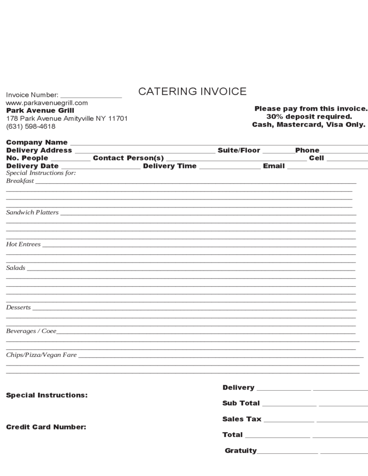 catering invoice sample
