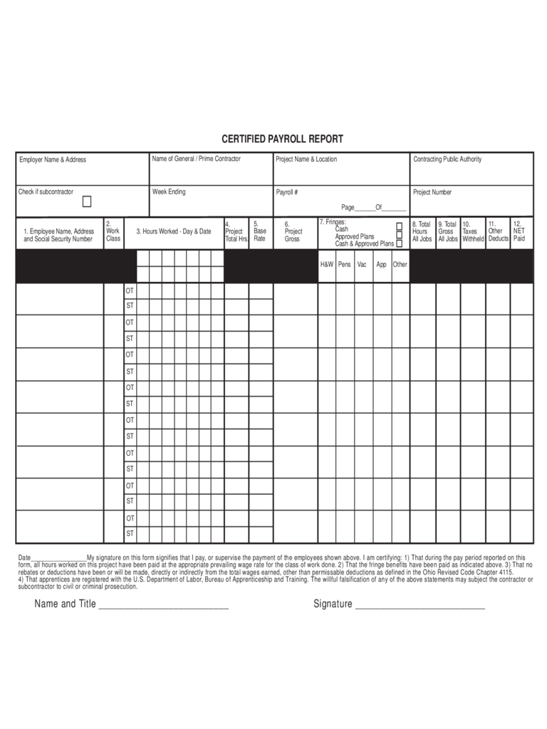 Certified Payroll Report Template Ohio – Payroll Report Template