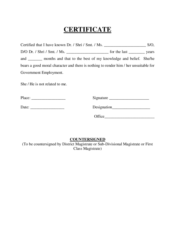 Verification Of Employment Form 9 Free Word Pdf Certificate Of Good Moral Character Free Download