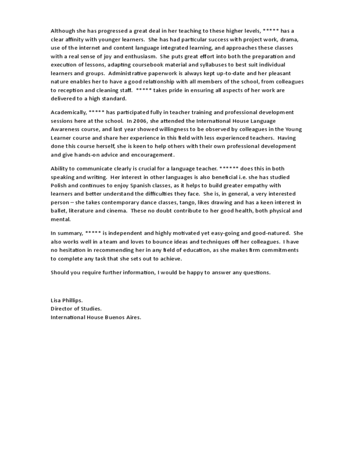 sample reference letter for students