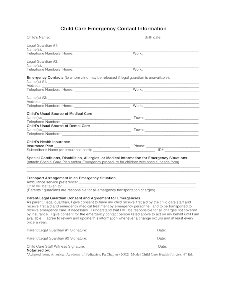 Printable Work Order Form Free Microsoft Word Templates Child Care Emergency Contact Form 2 Free Templates In