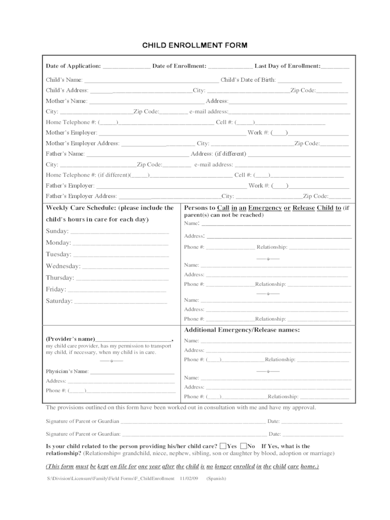 Employment Application Tjxjobs Child Care Enrollment Form 3 Free Templates In Pdf Word