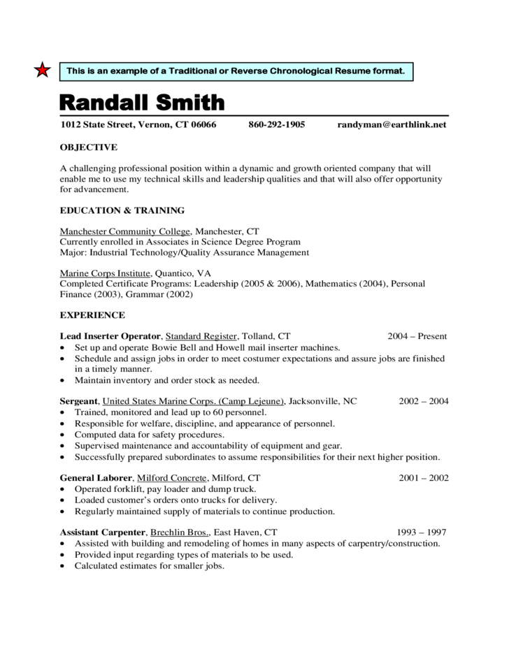 reverse chronological format resume best - Chronological Format Resume