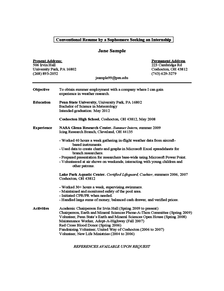 resume 1st year college student