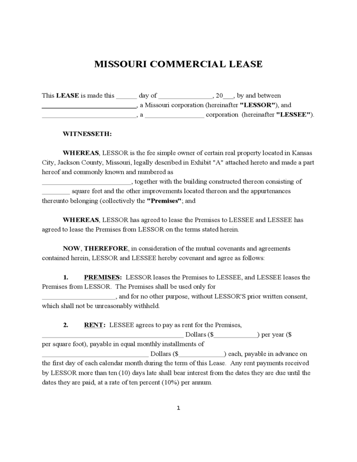Lease Agreement Template Kansas – Commercial Lease Agreement Free Download