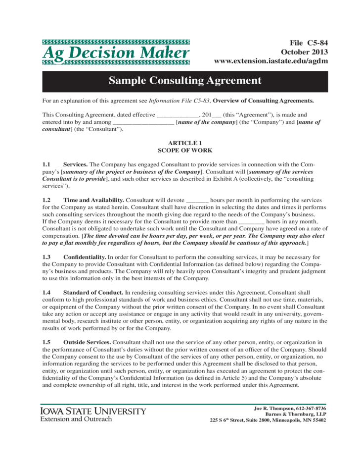 Consulting Contract Forms Free – Sample Consulting Agreement