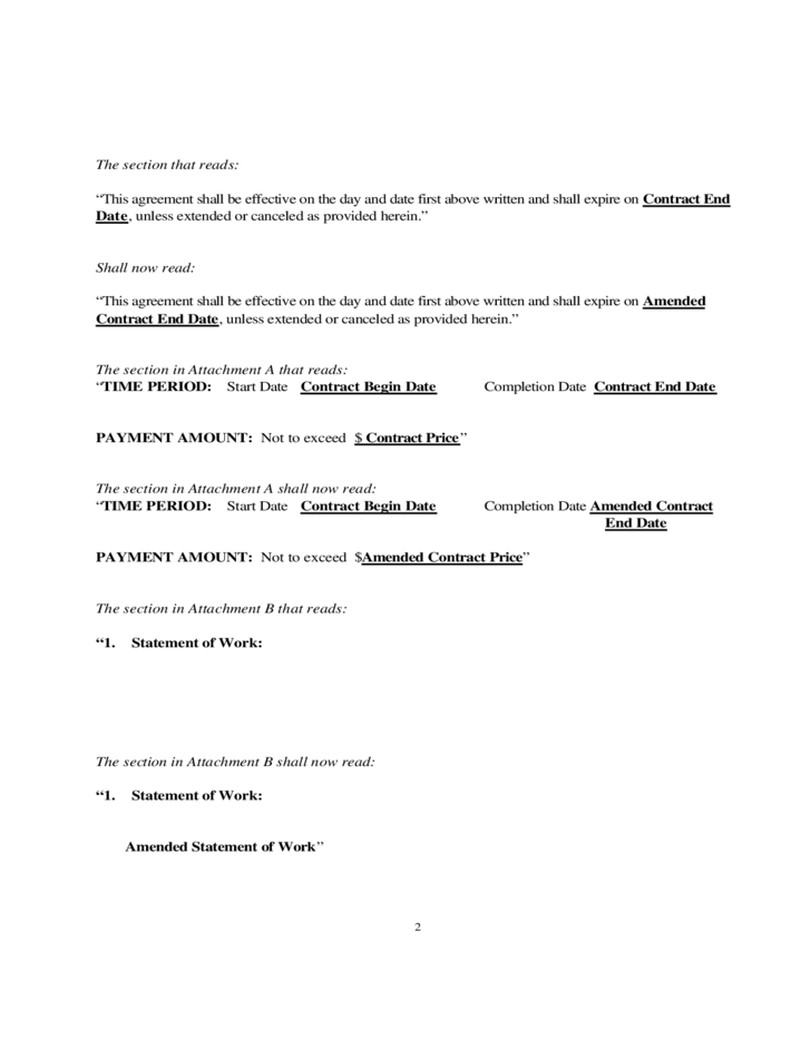 Sample Amendment To Employment Contract   Professional Reference ...