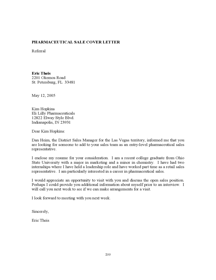 cover letter sales examples