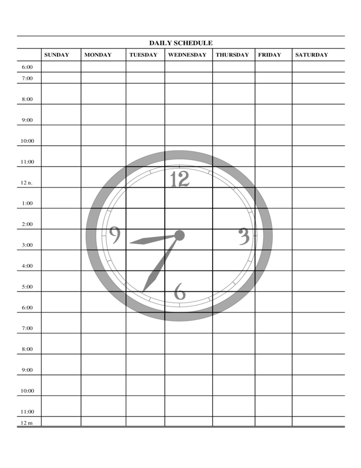 free form daily schedule