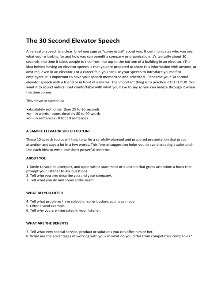 Doc.#500480: Speech Example – Speech Examples 23 Download Free ...