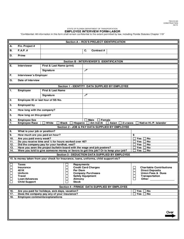 Download Interview Evaluation Form Templates For Free Employee Interview Form Florida Free Download