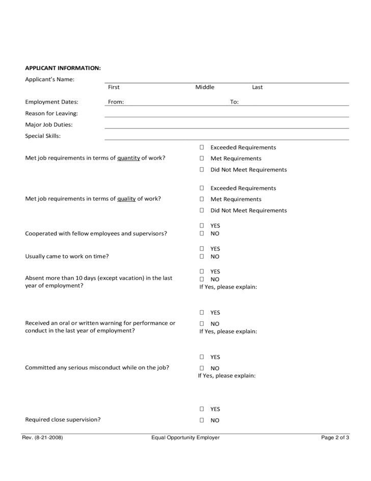 Reference Check Form | Professional resumes sample online