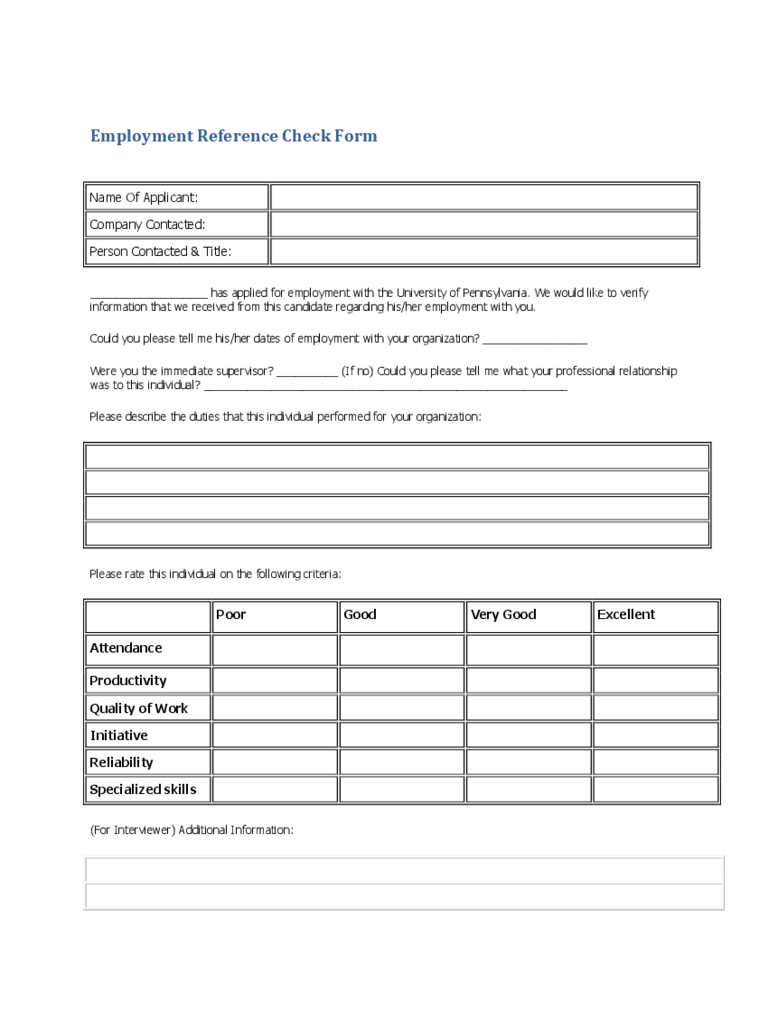 reference check form templates
