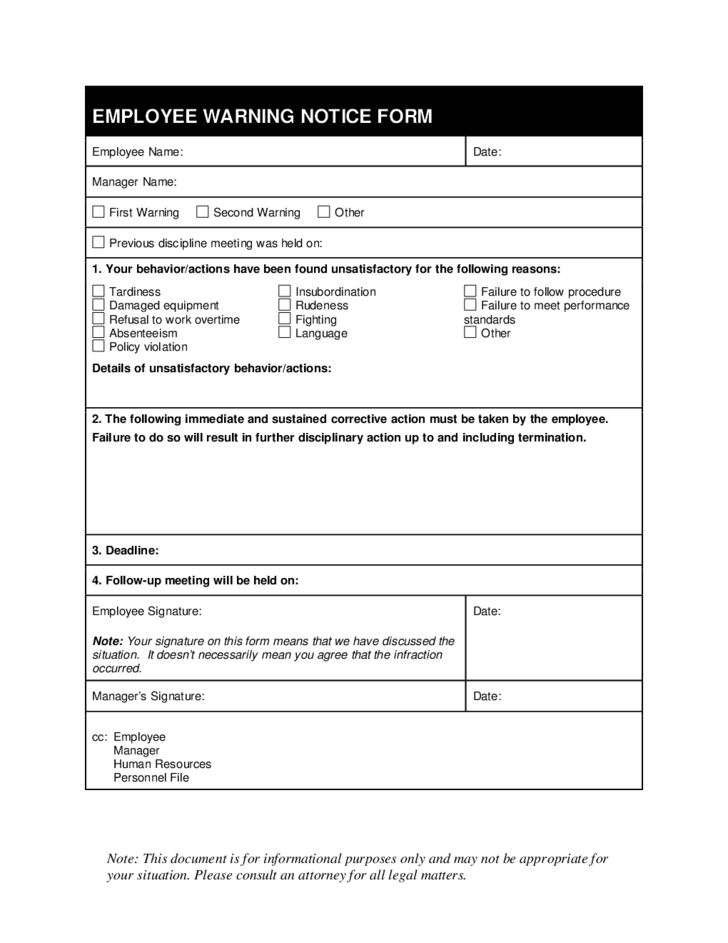 15 Employee Write Up Form Templates Free Printables Employee Write Up Warning Notice Form Free Download